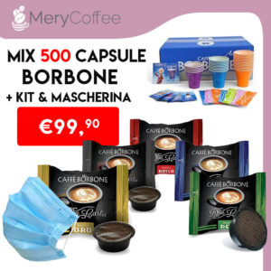 mix 500 capsule borbone don carlo con kit e mascherina covid